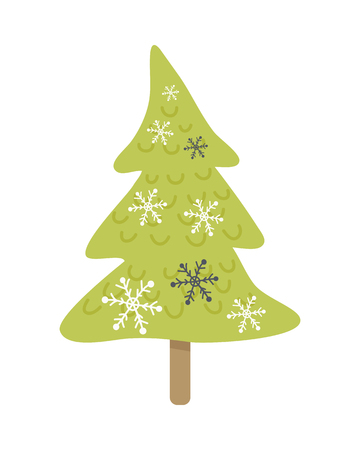 Christmas tree isolated on white. Cartoon fir tree in xmas holiday concept. Merry Christmas and Happy New Year poster. Funny winter illustration for children. Winter season holiday celebration. Vector Illustration