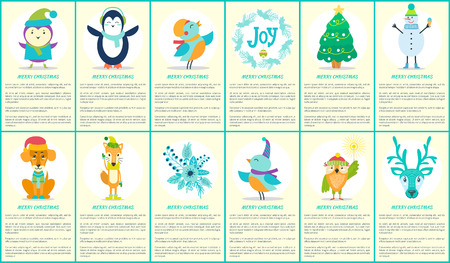 Merry Christmas, cards and text collection made up of headlines and images of tree and penguin, snowman and bird, stickers and fox vector illustration