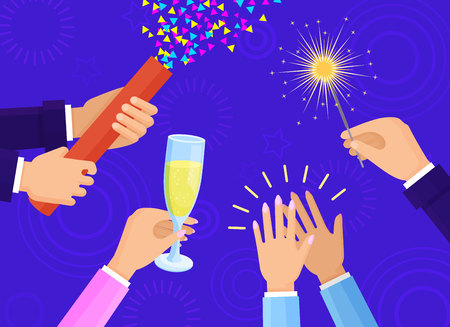 People hands with champagne glass, big slapstick full of confetti and bright sparkler isolated cartoon flat vector illustration on blue background.