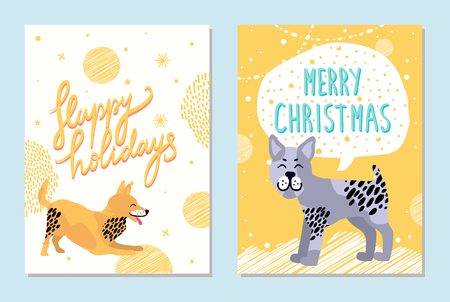 Merry Christmas and happy holidays bright postcards with happy playing dogs on snowy background. Vector illustration with congratulations from pets