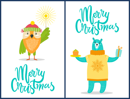 Merry Christmas wild animals with congratulation sparklers, presents and sweets dressed in warm clothes owl and bear vector illustration on white 일러스트