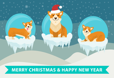 Merry Christmas and happy New Year poster with cute puppies on icy cliffs, three corgi dogs on snowy cliffs vector illustration winter landscape Иллюстрация
