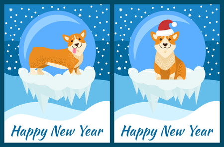 Happy New Year congratulation from corgi on blue background with snowfall. Vector illustration with cute dog Chinese symbol of coming year posters set Illustration