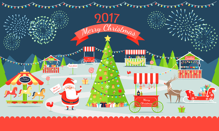 Merry Christmas poster representing market with Santa Claus, reindeer and tree, carousel and presents, fireworks in sky on vector illustration Illustration