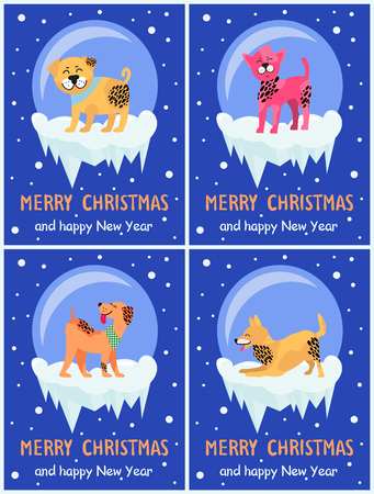 Merry Christmas and happy New Year dog symbol in snowy bubble on dark background. Vector illustration with friendly rottweiler and playing akita Ilustrace