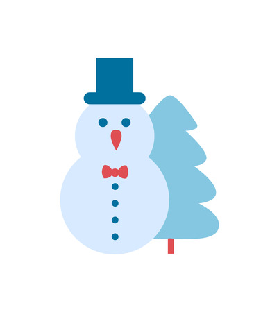 Snowman and Christmas Tree Vector illustration