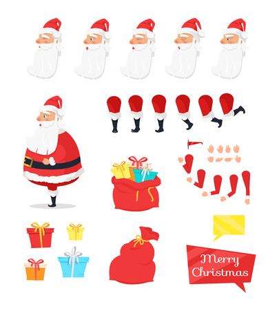 Set of different nice icons from Santa Claus. Kinds of presents for children all around world. Close and open enormous red bags. Vector illustration of several angles of arm and leg. Emotions on face.