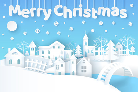 Merry Christmas, poster with city and buildings, trees and pine, river with bridge over it, fence beside house, snowflakes vector illustration