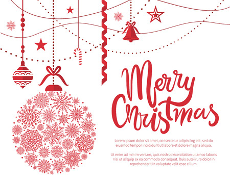 Merry Christmas, poster with text and calligraphy lettering with decoration of snowflakes, balls and bells, stars and garlands vector illustration