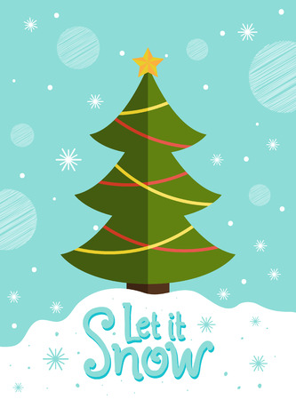Let it snow postcard with New Year tree decorated by colorful garlands topped by star on snowy landscape vector illustration greeting card design 2018