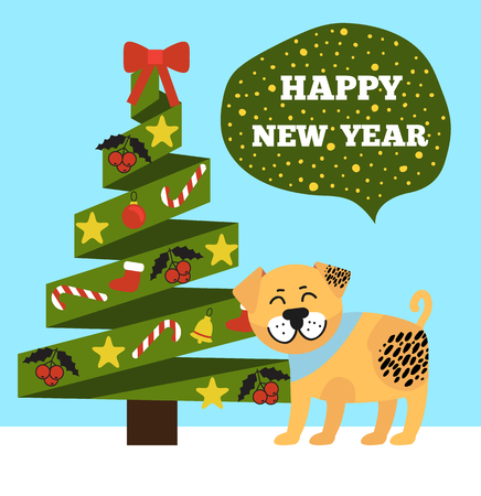 Happy New Year poster with evergreen Christmas tree with colorful garlands, topped by red bow vector illustration with dog symbol 2018 icon as present