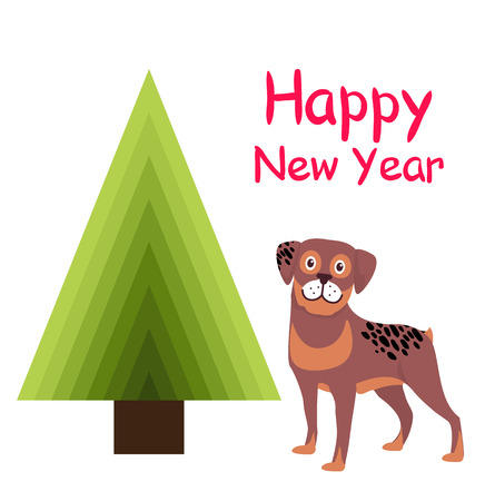 Happy New Year greeting card cartoon brown spotted dog and abstract Christmas tree triangular shaped, Xmas symbol without decorations and cute puppy Çizim