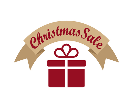 Christmas sale, banner with ribbon of brown color and headline written on it, image of present with bow on its top, isolated on vector illustration Illusztráció