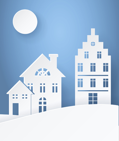 Winter Landscape paper silhouettes light postcard with small family buildings on light background. Vector illustration with snowy panorama illuminated by moon Illusztráció