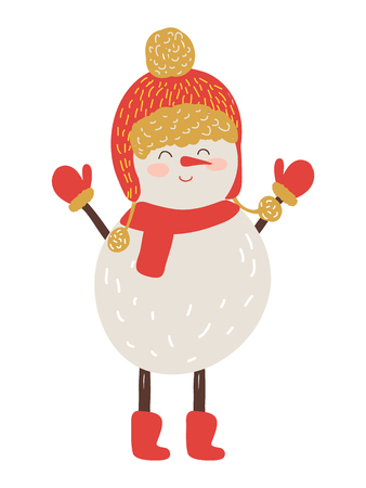 Snowman in red hat and scarf isolated on white background. Vector illustration with happy fairy tale character in warm knitted clothes and winter gloves Illustration