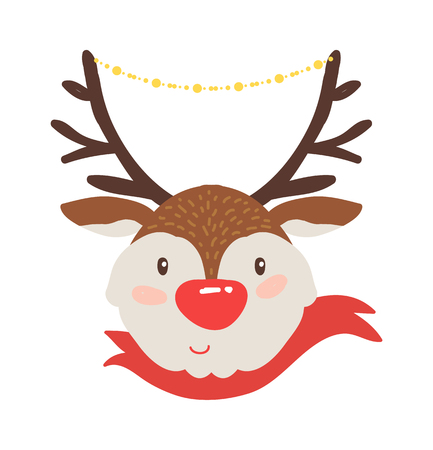 Rudolf deer in red scarf icon isolated on white background. Vector illustration with smiling animal with brown horns decorated with shiny garland