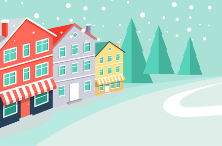 Winter landscape with buildings that have markets at ground floors, evergreen tall spruces on horizon and thin path cartoon vector illustration.
