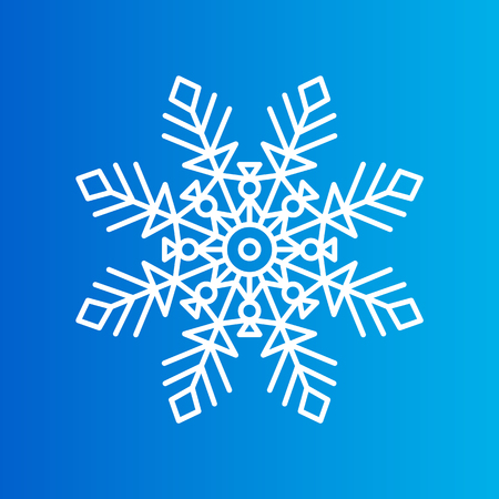 Snowflake Created from Ornamental Patterns on Blue background