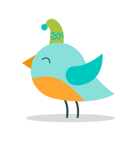 Bird with Closed Eyes on Vector illustration Ilustração