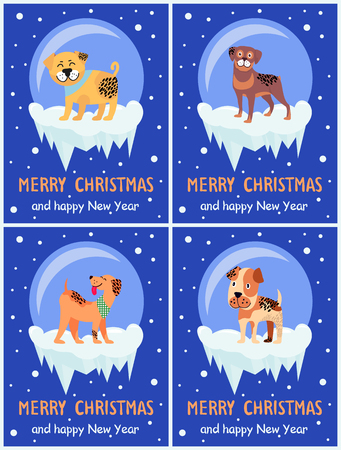 Merry Christmas and happy New Year Chinese symbol set of posters with dogs on snow. Vector illustration with happy cute pets on dark blue background Illustration