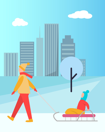Father Carrying Child on Sledge Vector Isolated Banque d'images - 98666451