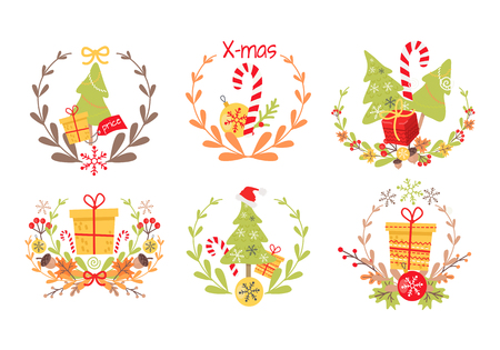 Set of Nice Christmas Badges on White Background