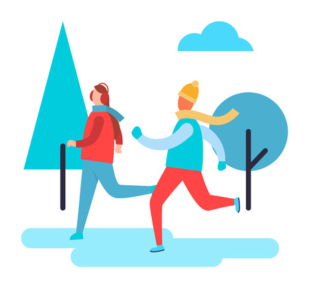 People Skiing in Winter Park Vector Illustration Illustration