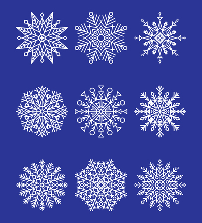 Snowflakes Collection on Blue Vector illustration Stock fotó - 98353168