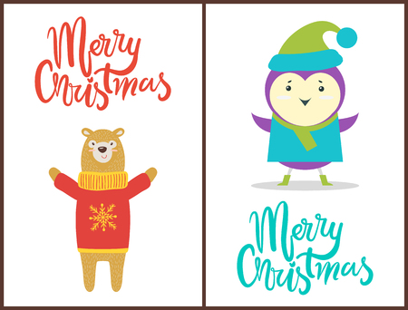 Merry Christmas Congratulation with Happy Animals Illustration
