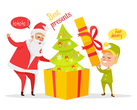 Delivering Christmas Presents Vector Concept