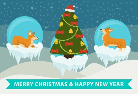 Merry Christmas and Happy New Year Corgi design Illustration