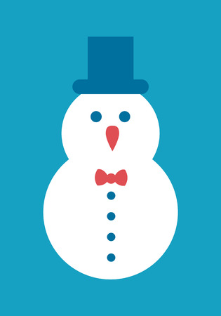 Snowman Icon Cylindrical Hat with Bow and Buttons