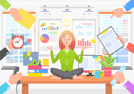 Business Poster with Woman on Vector Illustration