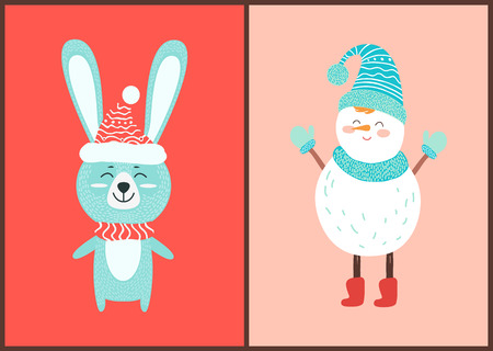 Happy Hare and White Snowman Vector Illustration
