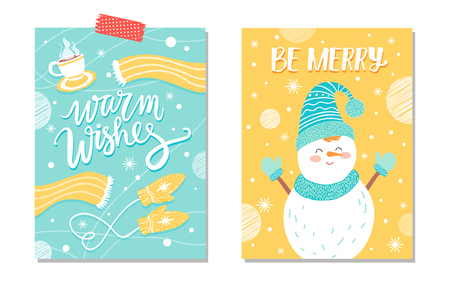Warm Wishes Be Merry Card Vector Illustration