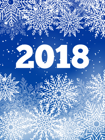 Snowflakes and snow 2018 banner, lots of frozen ice crystals both big and small, lettering and year number vector illustration isolated on blue Çizim