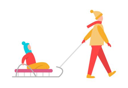 Vater , der Kind auf Schlitten Vektor-Illustration auf weißem Hintergrund trägt . Winteraktivitäten des Vatis mit dem Mädchen oder dem Jungen , der in Schlitten sitzen Standard-Bild - 98283441