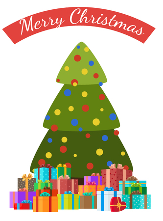 Merry Christmas congratulations card with decorated trees by color balls and piles of presents, xmas symbols vector illustration greeting poster design 向量圖像