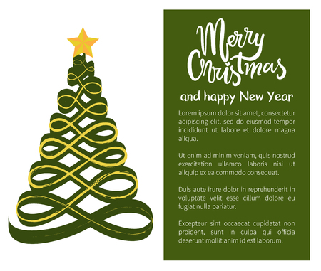 Merry Christmas Happy New Year poster with tree made of wavy abstract lines, topped by golden star vector illustration web banner with place for text  イラスト・ベクター素材