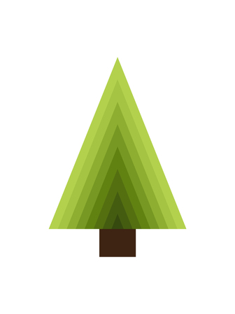 Abstract new year tree made of triangles and brown trunk vector illustration isolated on white background. Decorative Xmas element, green spruce icon