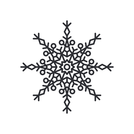 Snowflake silhouette of circular shape with lines and triangles, and circle in centre, schematic crystal object, colorless vector illustration Ilustração