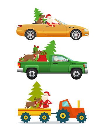 Santa Claus, big reindeer, green fir tree, red big bag in different kinds of modern transport. Man drives steep green pick-up truck and yellow car. Vector illustration of current vehicle types