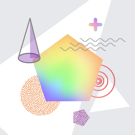 Shapes making up abstraction, triangle and circles, curved lines, big geometric form filled with gradient colors, vector illustration futuristic background Stock Illustratie
