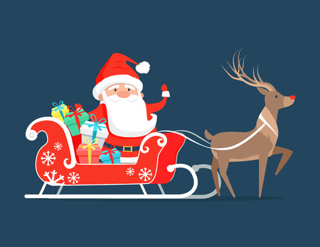 Santa Claus on sledge with reindeer and presents decorated by bright ribbon bows. Vector illustration of Cristmas symbol on dark blue background