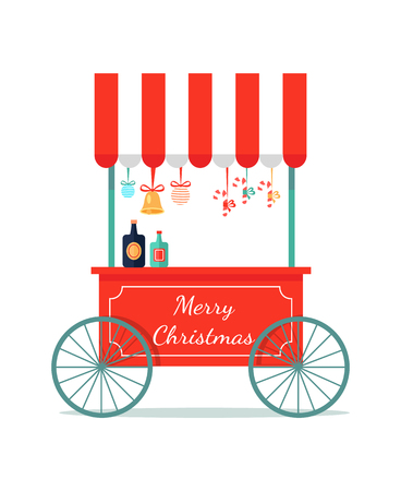 Merry Christmas congratulation booth with sweets icon isolated on white background. Vector illustration with kiosk with bright lollipops and candies