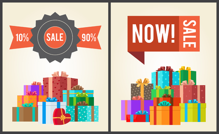 Sale from 10 to 90 buy now promo labels with piles of gift boxes vector illustration posters with mountains of presents in decorative paper Vettoriali