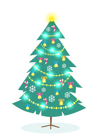 Nice decorated Christmas tree on white background for celebration Eve. Vector illustration of dark green fir tree with golden handbells, white snowflakes, candy canes and bright lights of festoon.