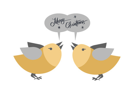 Merry Christmas pair of birds singing greetings on white. Vector illustration of cartoon golden flying animals with grey wings standing face to face and inscription above them in gray oval elements