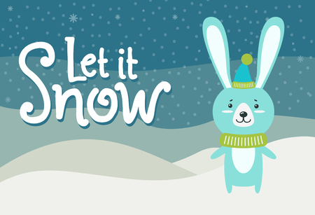 Let it snow hare dressed in warm knitted clothes hat with bubo and scarf. Vector illustration wild beast on winter landscape background and snowflakes
