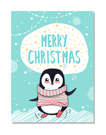 Merry Christmas congratulation bright postcard with happy penguin dressed in warm sweater. Vector illustration with beautiful animal surrounded by snow